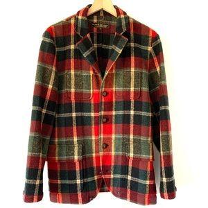 Wool Plaid Blazer Jacket Chore Coat